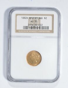 AU55 1882-H Newfoundland 2 Dollars World Gold Coin - Graded NGC *2735