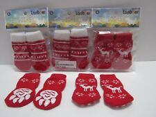 8 Pr Pet Socks Dog Cat Puppy Kitten Small Breed  - Fits Sz Small to Med Red