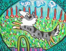 Sheltie doing Agility Aceo Print Dog Art Card 2.5 X 3.5 Ksams Shetland Sheepdog