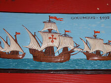 COLUMBUS SAILS THE OCEAN BLUE 1492  VINTAGE CHALKWARE PLAQUE  18 INCHES