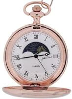 Jakob Strauss Rose Goldtone Sun & Moon Roman Numerals Gents Pocket Watch + 12 Ch