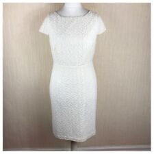 Monsoon Embroidered Lace Dress Size 14 UK Ivory White Pencil Wiggle *VGC*