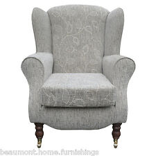 High Back Armchair Floral Fabric Wing Chair Queen Anne Fireside Living Room UK