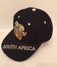 SOUTH AFRICA HAT CAP Black With Embroidered Wildlife Adjustable Back Strap