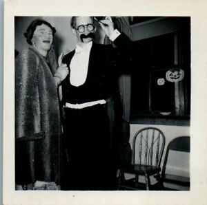 Vintage Photo Halloween Funny Nose Glasses Tux Mask Man Dressed as Woman