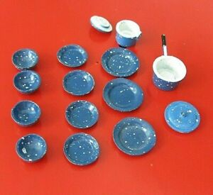 Vintage Dollhouse Kitchenware Blue Metal Spatterware Pots, Pans & Dishes 15 Pcs