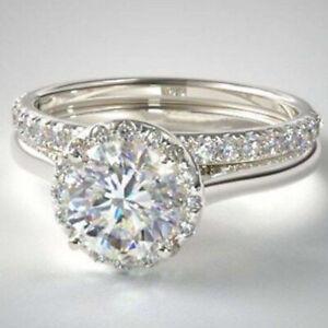 2.66 TCW Round Cut Moissanite Bridal Set Engagement Ring 14K White Gold Plated