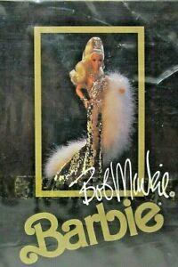 Mattel 1990 Bob Mackie Gold Barbie Doll W/ Display Case, Stand original box NEW