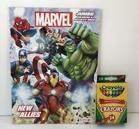 Marvel Avengers Jumbo Coloring & Activity Book Mazes Matching + Crayons Boys Art