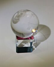"""Mini Round Crystal Glass Earth Globe with Refractive Crystal Base 1.5"""" Diameter"""