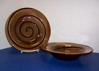 "Sakura Port of Call Collection Pinwheel 2 Rim Soup Bowls (9.75"") Brown Stoneware"