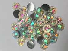 50pcs 20mm AB CLEAR Flatback Pointed Diamond Round Diamante Rhinestone Resin Gem