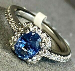 $2300 Blue Sapphire Diamond Halo Platinum Vintage Ring GAL Certified Size 3.75