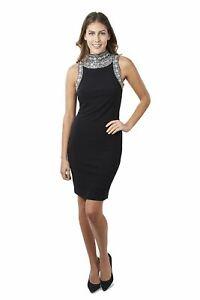 Joseph Ribkoff Black Jewel Accent Halter Cocktail Dress 171950 NEW**