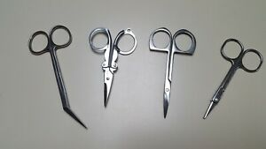 LOT OF FOUR (4) PAIR STAINLESS STEEL MANICURE SCISSORS/TOOLS/PEDICURE/GROOMING