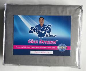 MyPillow Giza Dreams Queen Light Gray 400 Thread Ct Sheets New Free Shipping