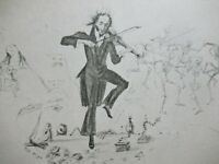 ANTIQUE Old Print Caricature of NICOLO PAGANINI by a Concert in Vienna
