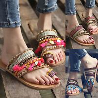 Women's Summer Slippers Flip Flops Flat Sandals Beach Boho Toe Ring Shoes Size