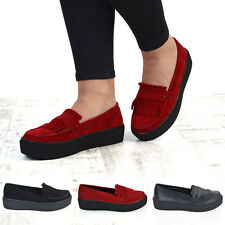 Womens Flat Creepers Platform Slip On Pumps Ladies Wedge Goth Punk Tassel Shoes