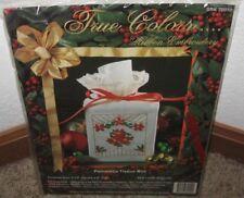 TRUE COLORS RIBBON EMBROIDERY POINSETTIA TISSUE BOX  KIT #70010 NIP