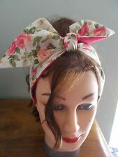 HEAD BAND HAIR SCARF CREAM ROSES PINK ROCKABILLY 1950 1940 FLORAL NEW LINED
