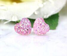 PINK  HEART  SILVER  STUD  EARRINGS  POST  WOMEN  GIRLS  FASHION  SUMMER EAR
