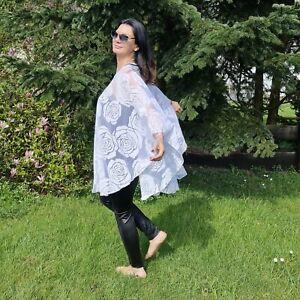 Damen Tunika Shirt Überwurf Poncho von Magna - Lagenlook - Rosen - Weiß - 44 -64