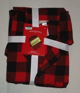 Wondershop Men's 2 piece Sleep Set Red Black plaid Sz L Pajamas Christmas PJs