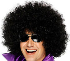 Mens 70s Disco Black Budget Afro Fancy Dress Dance Pop Party Wig Accessory