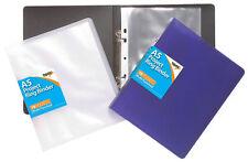 A5 Slim Ring Binder File Folder Assorted Colours + 10 A5 Punched Pockets - Pack