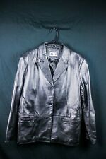 Vintage Clio Women's Black Leather Jacket Coat 3 button Lined Size L