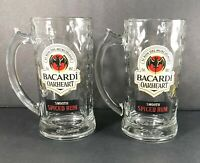 2-Bacardi Oakheart Smooth Drinking Glass Steins 12 oz  Pre-Owned