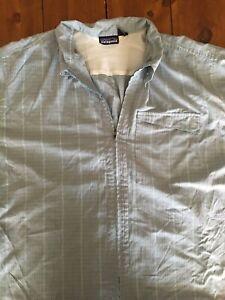 Mens Patagonia XL Full-Zip Hiking Shirt Lite Blue Size Extra Large