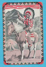 Native American Indian on horse playing card single swap nine of spades - 1 card