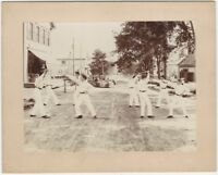 1900s Young Men Fencing with Broomsticks in the Street Cabinet Photo