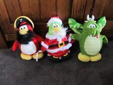 CLUB PENGUIN....3 soft toy penguins..pirate,Santa & DRAGON ..Disney's CP toys