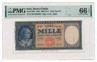 ITALY banknote 1000 Lire 1961 PMG MS 66 EPQ Gem Uncirculated