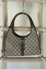 VINTAGE GUCCI 002-1067 002113 JACKIE O KHAKI MONOGRAM CANVAS BROWN LEATHER HOBO