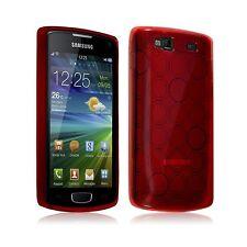 Housse étui coque gel motifs cercle pour Samsung Wave 3 couleur rouge