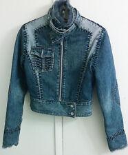 Vintage Christian Lacroix 90's Denim Leather Fur Cotton Jacket Women's Size S