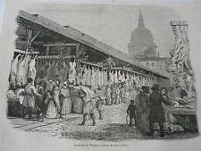 London Le Marché de Newgate La Veille de Noel Antique Old Print 1846