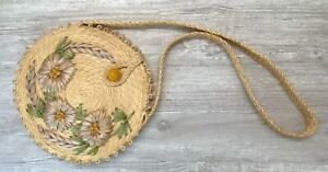 Vintage Boho Round Straw Raffia Bag Hand Woven Floral Shoulder Purse