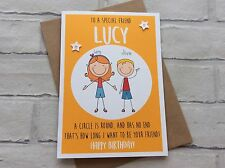Handmade Personalised Birthday Card: Cute Stick Person Characters (Best Friends)