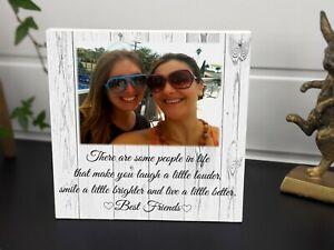 Personalised Best Friend Sister Plaque Wooden Keepsake Photo Block Present Gift