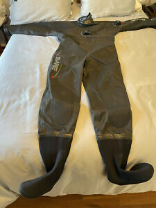 Bare Nex-Gen Pro Drysuit (Mens Medium Short) Hood Dry Gloves Gaitors Boots Bag