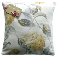 Cushion Cover in Laura Ashley Hydrangea Camomile Lemon/Grey fabric - all sizes