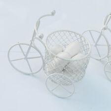 Bicicletta a tre ruote Cestino Vintage Ferro Vernice Bianco-Portaconfetti reaglo