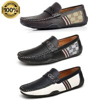 Mens Slip On Smart Leather Shoes Casual Designer Moccasins Loafers Driving Size
