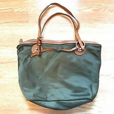 Lauren Ralph Lauren Handbag Shoulder Bag Purse Olive Green Nylon Tote Damaged