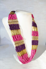 Pink Purple Seed Bead Multi-Strand Necklace 67+7cm